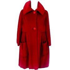 Vtg. 60s Boho Mod Ruby Red Baby Doll Look Custom Bonwits Wool Coat - Twiggy