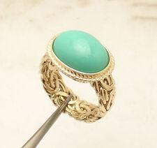 Sz 8 Genuine Cabochon Turquoise Gemstone Byzantine Ring REAL 14K Yellow Gold QVC