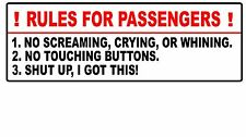 """Rules For Passengers Decal Car Sticker Funny JDM Stance Euro 4x4 Truck Mud 4.5"""""""
