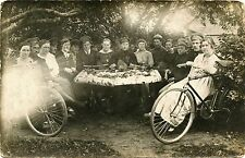 SOLDIERS WOMEN OUTDOOR PARTY BICYCLES & ORIGINAL ca 1918 REAL PHOTO POSTCARD