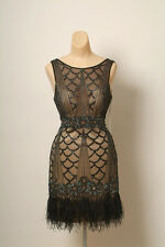 BRAND NEW SUE WONG BLACK BEADED FEATHER SHORT PARTY COCKTAIL EVENING DRESS 8 NWT