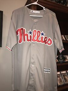 Mens Majestic Philadelphia Phillies Bryce Harper #3 Cool Base XL Jersey Gray