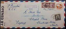 USA 1940 registrato Clipper COVER W CENSURA Nastro Per GB, Sant 'Agostino, Florida PMK