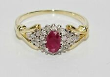 9ct Gold Ruby & 0.25ct Diamond Cluster Ring size P