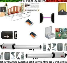 CANCELLO AUTOMATICO 5 MT 2 ANTE KIT CBR 220 V FOTO FARO 2 RADIOC SERRATURA SELET