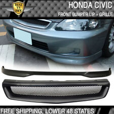 Fits Civic EK 99-00 Coupe Sedan PP Front Bumper Lip Spoiler + T-R Hood Grill