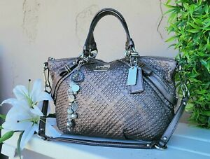 Coach Madison sophia woven leather Satchel Shoulder Handbag Purse 17757