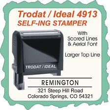 Return Address, Aerial Font, Larger Top Line w/ Scored Lines,  Trodat Self-Ink