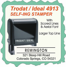 Return Address, Aerial Font, Larger Top Line w/ Scored Lines,  Trodat Self-