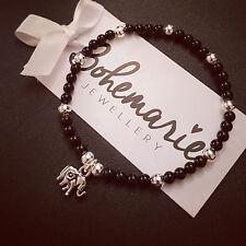 Black onyx mini elephant charm bracelet gemstone bijoux jewellery boho gypsy