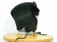 Black Muskrat Fur Russian Chapka Trapper Hat Suede Leather Top Sz. 23' M n294
