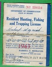 INDIANA 1943 Resident Hunting, Fishing, Trapping License RW10 Duck Stamp - 343
