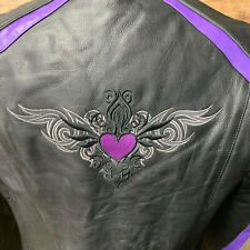 4XL Womans Leather Purple Embroidery Heart Wings Hoody Motorcycle Jacket  #1558