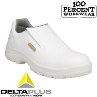 Nurses Medical Food Hygiene White Safety Work Slip On Shoes Steel Toe Cap S2 SRC