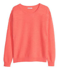 new 100% cashmere JUMPER-H&M premier coral pink horizontal rib- bnwt small uk12