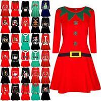 Womens Xmas Ladies Elf Santa's Little Helper Belt Costume Christmas  Swing Dress