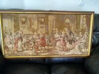 VINTAGE - LOVELY BELGIUM TAPESTRY OF SALON SCENE W/ PIANO  Year 1920.