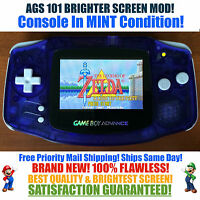 Nintendo Game Boy Advance GBA Blue System AGS 101 Brighter Backlit Mod MINT
