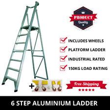 6 Step Aluminium Platform Ladder + Wheels 1.8M-2.7M Industrial Rated 150kg