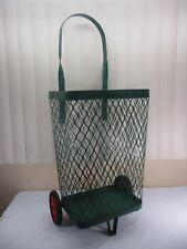 Vintage Green Metal Rolling Market Grocery Shopping Basket Cart Caddy c.1940's