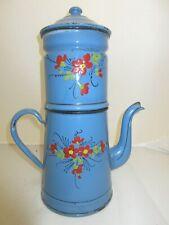 Gran Cafetera Antigua Esmaltados Azul Decoración Flores A 33CM
