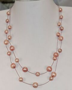 Honora Stainless Steel Wire Ringed Mauve Pearl 2-Strand Necklace 18 & 20 inch