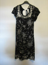 WOMENS NEXT BLACK & WHITE FLORAL DRESS SIZE 12   APPROX 30 INCHES LONG