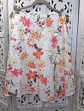 CONTEXT White, Orange, Yellow Floral Knee Length A Line Skirt Size 6 Petite