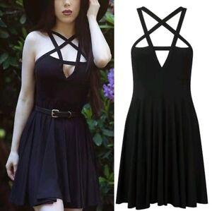 New Black Gothic Pentagram Stretch Sexy Mini Party Club Dress size 2XL 18 20 22