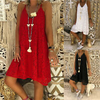 Women Lace Crochet Long Shirt Dress Summer Beach Party Mini Dress Sundress Plus
