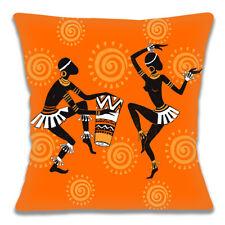 """Tribale Africaine Lady 16/""""x16/"""" 40 cm Housse de Coussin Silhouette jaune orange marron"""