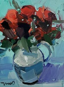 JOSE TRUJILLO Oil Painting IMPRESSIONISM Contemporary Birds 9X12 Red Flowers
