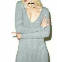 NWT For Love And Lemons Knitz Dress Everyday V-beck Gray Mini Bodycon Size M