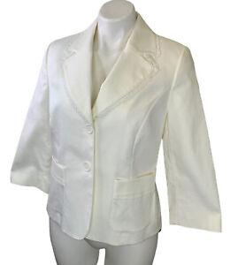 NWT Ann Taylor LOFT White Blazer Jacket Sz 8 Two Button Cotton Stretch New $89