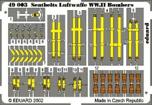 ED49003 - NEW Eduard 1:48 Seat belts Luftwaffe WWII Bombers Colour Etched