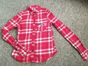 ABERCROMBIE Red Plaid Long Sleeved Button Front Flannel Shirt Girls S Size 7-8