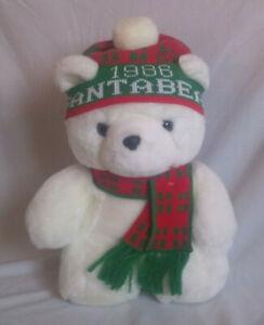 Vintage 1986 Dayton Hudson Santa Bear with Scarf, Hat and Original Bag