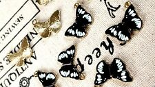 Butterfly charms 3 gold and enamel pendant charm jewellery supplies C289