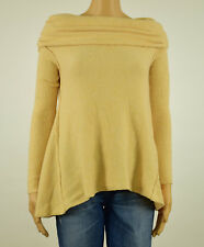 Free People Womens Beige Boucle Cowl Neck Pullover Sweater S