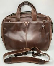 Johnson & Murphy Briefcase Shoulder Laptop Notebook Mahogany Brown Leather Bag