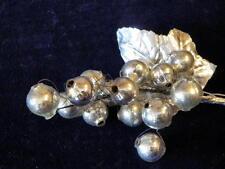 "Vintage Millinery Flower Fruit 5/8"" Grapes Silver Mercury Glass Beads Trim GF14"