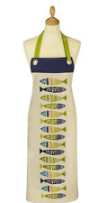 Cotton Apron with a fish (Herring) design in Blue & Green on Cream 7HER01
