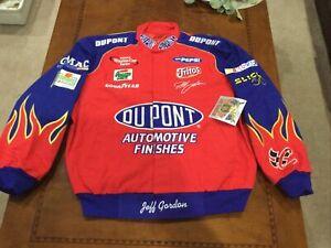 2001 Vintage NASCAR JACKET Jeff Gordon DUPONT Flames  Lrg NWT Jeff Hamilton New