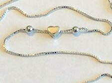 """Floating Heart with Boxed Link $10.79 Sterling Silver .925 Anklet ~ 10"""" Thick"""