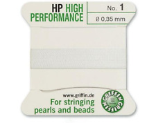 HP HIGH PERFORMANCE WHITE SILK STRINGING THREAD 0.35mm GRIFFIN SIZE 1 - FT799