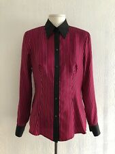 Escada-Negro Flor Rosa Camisa de seda rayada-Reino Unido 8