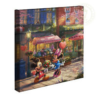 Thomas Kinkade Mickey and Minnie Sweetheart Cafe 14 x 14 Gallery Wrapped Canvas