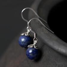Natural Blue Lapis Lazuli Round Drop Dangle Earrings Sterling Silver Gemstone
