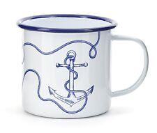 Kikkerland Nautical Anchor White & Blue Enamel Mug Camping Tea Coffee Cup Gift