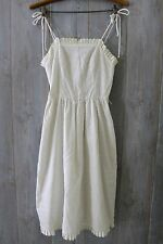 VINTAGE VICTORIA 1950's White Fit and Flare Sundress Eyelet Ruffle Hem Sz XS